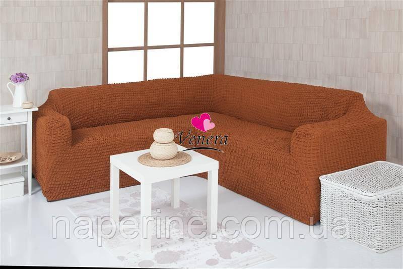 Чехол натяжной на угловой диван без оборки  MILANO горячий шоколад 209. Чехол полностью обтянет ваш диван!!!