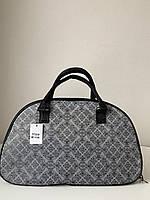 Маленькая женская дорожная сумка саквояж текстильная серая, фото 1