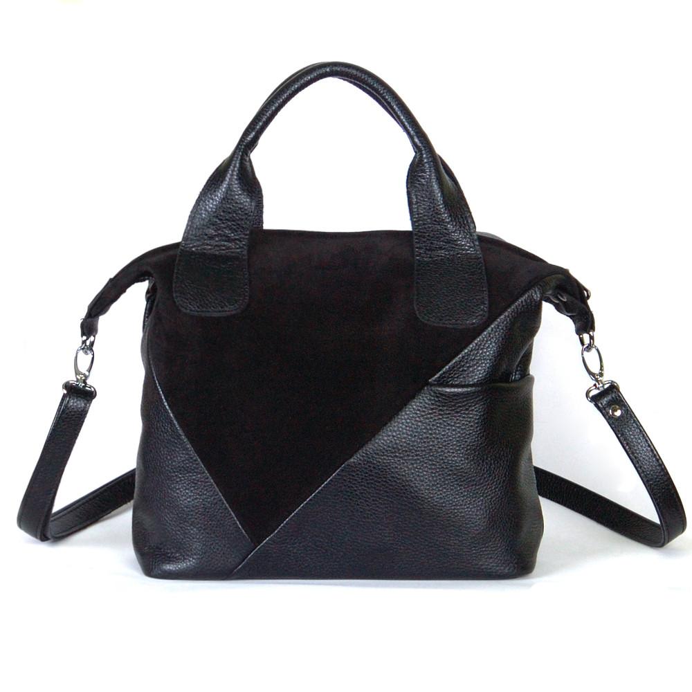 Женская сумка кожаная 49 черный замш/флотар 014905-0101