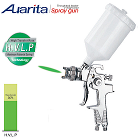 Краскопульт пневматичний тип HVLP верхній пластиковий бачок, діаметр форсунки-1,4 мм AUARITA H-970P-1.4