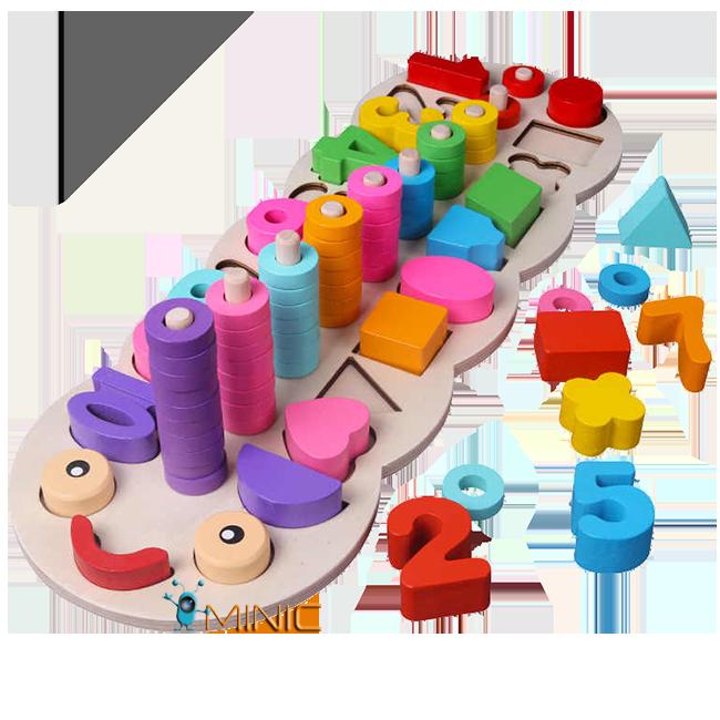 Деревянная развивающая пирамидка сортер Цвет, форма, счёт Candywood Монтессори