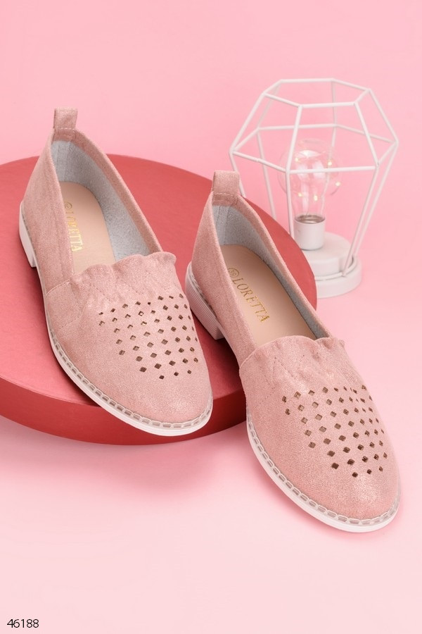 Женские балетки светло- розовые с перфорацией