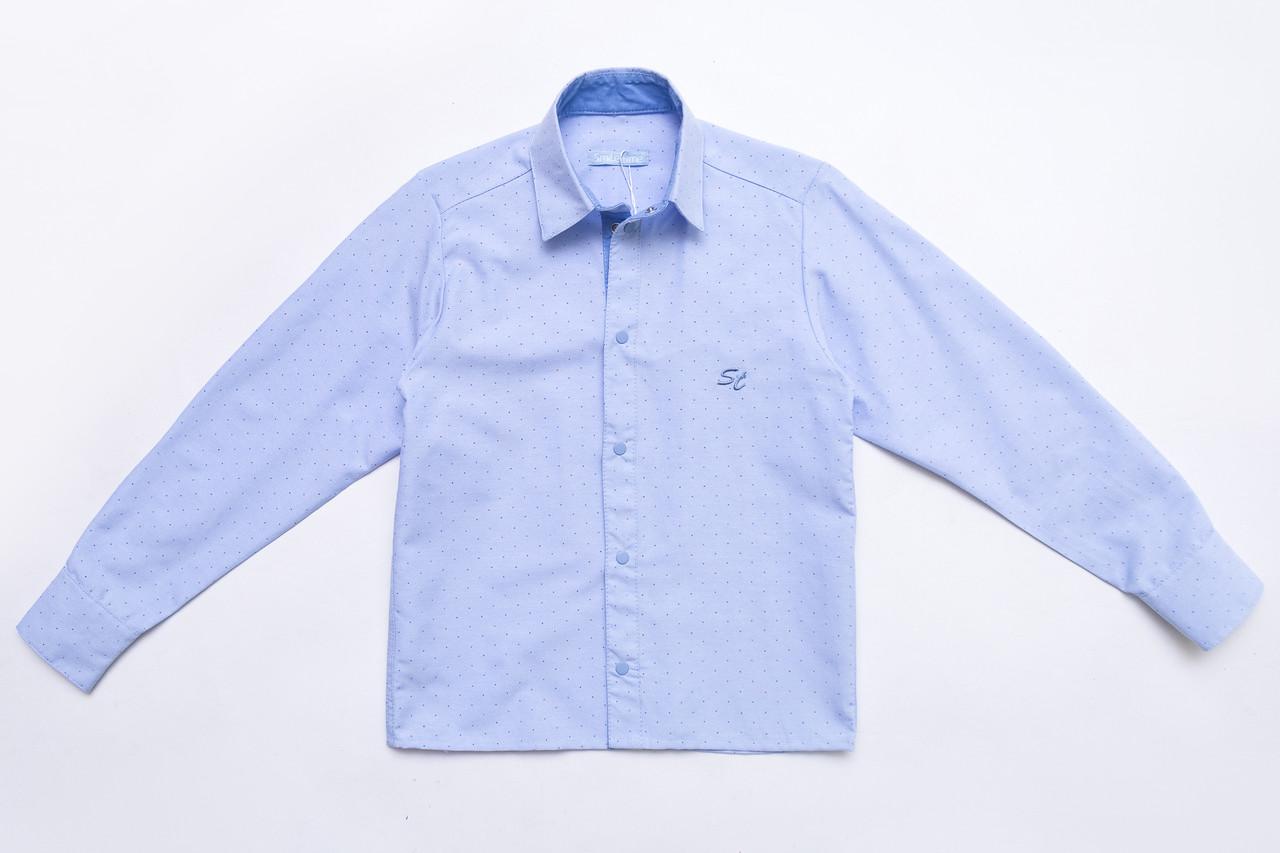 Рубашка молодежная р.170 для мальчика с длинным рукавом на кнопках SmileTime Points, голубая