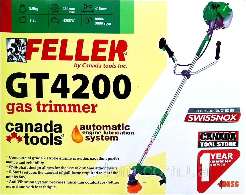 Бензокоса FELLER GT4200 (3ножа+1катушка, ремень рюкзак)