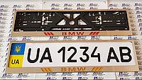 Рамка номерного знака из нержавеющей стали с логотипом BMW (Премиум Сегмент)