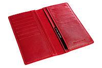 Кожаный кошелек визитница женский красный, гладкая кожа