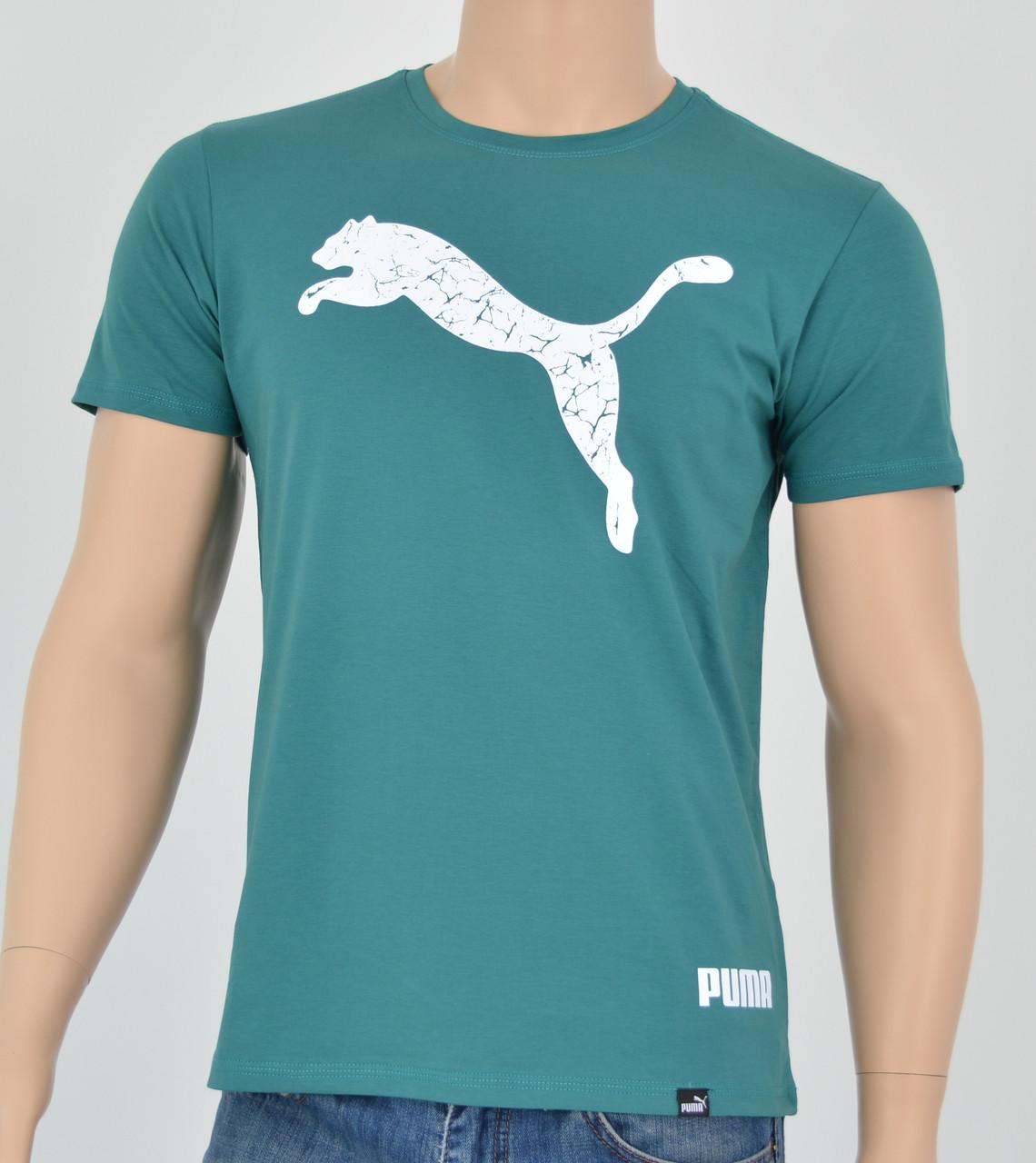Мужская футболка Puma(реплика) Т.Бирюза+белый