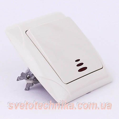 Выключатель одноклавишный VI-KO Carmen с подсветкой скрытой установки (белый)