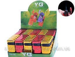 Зажигалка пластиковая с Крышкой (Турбо пламя+пьзо) YG-125-48