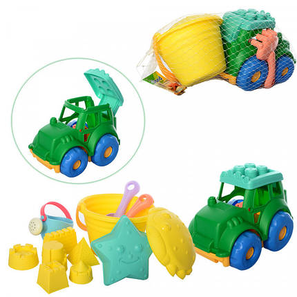 Набор для песочницы, ведерко, лопатка, грабли, трактор, формочки, HG-770, фото 2