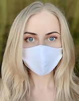 Маска на обличчя / обличчя захисна багаторазова тканинна Silenta White, фото 1