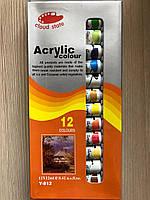 Акриловая художественная краска Acrylic 12 мл 12 штук разные цвета Фарба для малювання