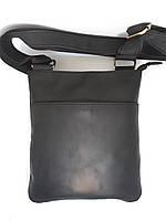 Мужская кожаная сумка черная барсетка на плечо ручной работы