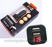 "Вольтметр в прикурку 12V/24V (короткий)  красн. диспл.""HZ""  HC1 +2 USB"