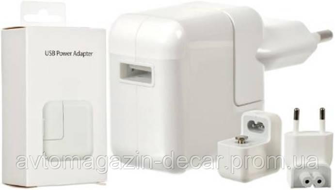 Адаптер 220v 1 USB iPad A1401 (2.4A/12W) в уп. (белый)