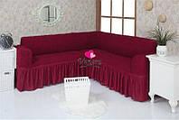 Чехол натяжной на угловой диван MILANO бордо  и еще 15 расцветок