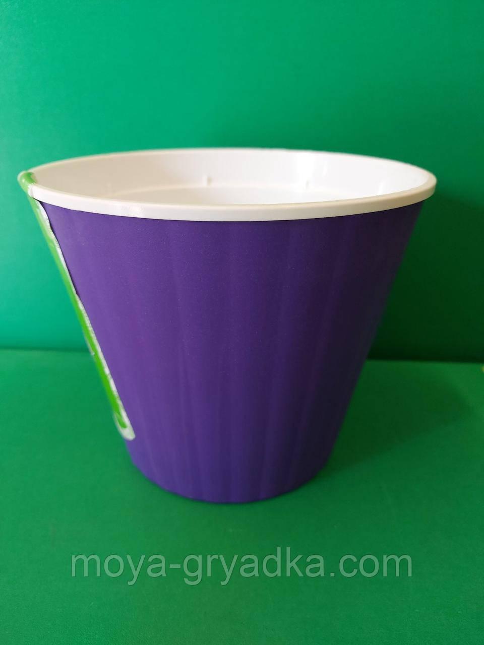 Ібіс 13*11,2    Горщик для квітів, фіолетово-білий