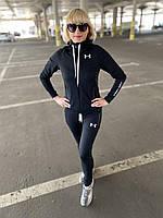 Женский черный весенний спортивный костюм с капюшоном Under Armour.Турция.