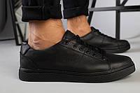 Кеды мужские кожаные черные 45