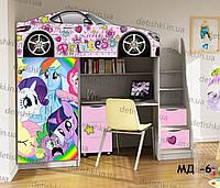 """Кровать чердак  """" Принцесс """" + цельная наклейка на шкаф"""