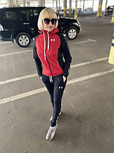 Женский красный весенний спортивный костюм с капюшоном Under Armour.Турция.
