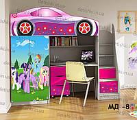 """Кровать чердак  """" Литл Пони """" + цельная наклейка на шкаф"""