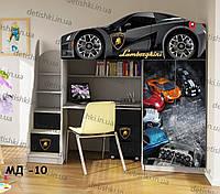 """Кровать чердак  """" Ламборгини графит """" + цельная наклейка на шкаф"""