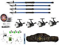 """Набір риболовний все в одному """"Три спінінги + вудочка"""" для ловлі карася, коропа, готовий до використання"""