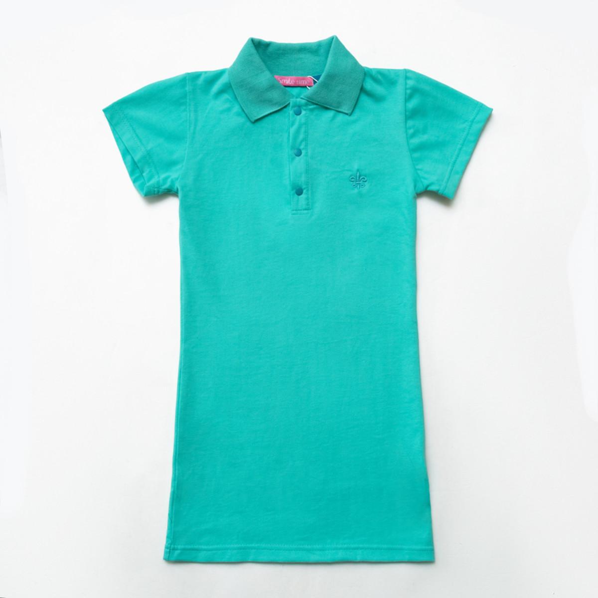 Платье-поло для девочки р.128,134,140,146,152,158 SmileTme Classic, мятный