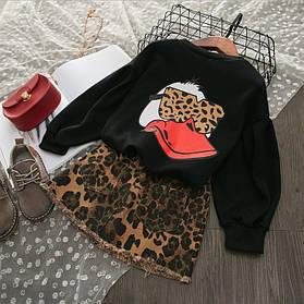 Нарядный костюм на девочку кофта + юбка  3-7 лет леопардовый  Duck