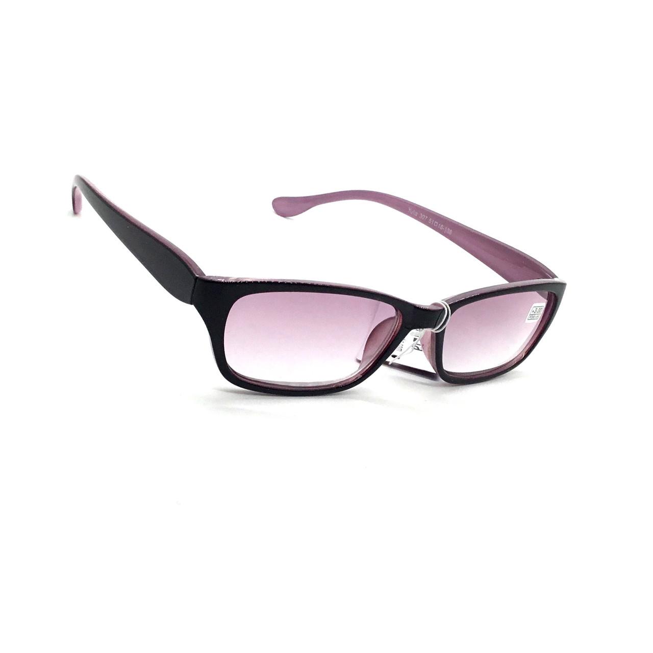 Жіночі окуляри в пластмасовій оправі з тонованою лінзою 307