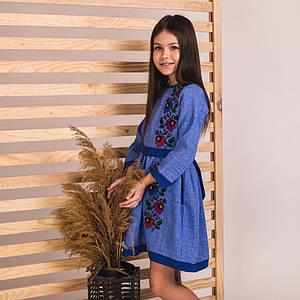 Синее платье-вышиванка для девочки Мальвочка