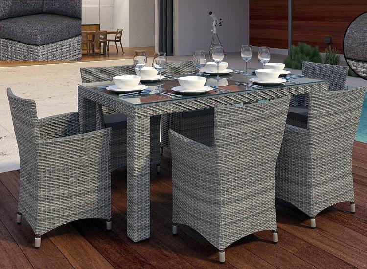 Комплект плетеный Orso Grey   стол 160см+6 кресел Condor