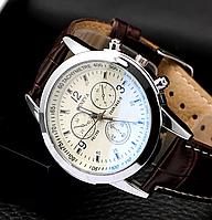"""Мужские классические наручные часы """"Geneva"""" WhiteBR с коричневым ремешком"""
