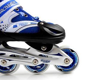 Роликовые коньки раздвижные Super Power размер 38-41 Синие, фото 2