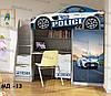 """Кровать чердак  """" Полиция """" + цельная наклейка на шкаф"""