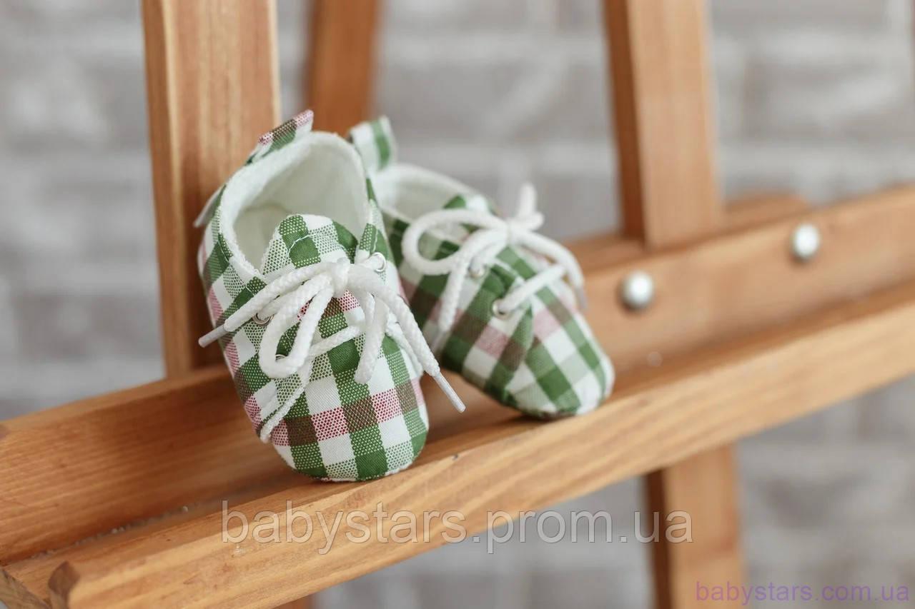 Пинетки для новорожденного мальчика, красно-зеленая клетка из хлопка