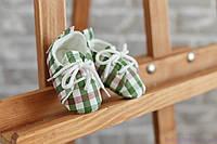Пинетки для новорожденного мальчика, красно-зеленая клетка из хлопка, фото 1