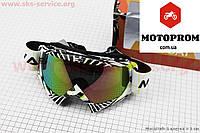 Кроссовые очки мото очки  Очки кроссовые, бело-черно-зеленые (зеркальное стекло), MJ-16
