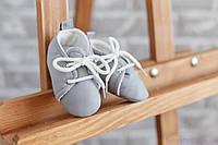 Пинетки для малыша из хлопка, серые, фото 1