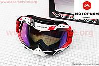 Кроссовые очки мото очки (VEMAR) Очки кроссовые, бело-красно-черные (зеркальное стекло), VM-1016C