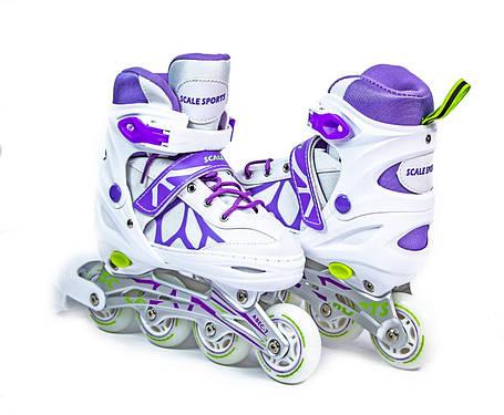 Ролики раздвижные Scale Sports (LF 601A) размер 34-37 Бело-фиолетовые, фото 2