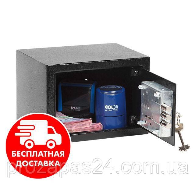 Сейф мебельный черный 17К для дома офиса ВхШхГ 17х23х17см