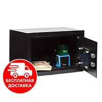 Сейф мебельный черный 20К для дома офиса ВхШхГ 20х31х20см, фото 1