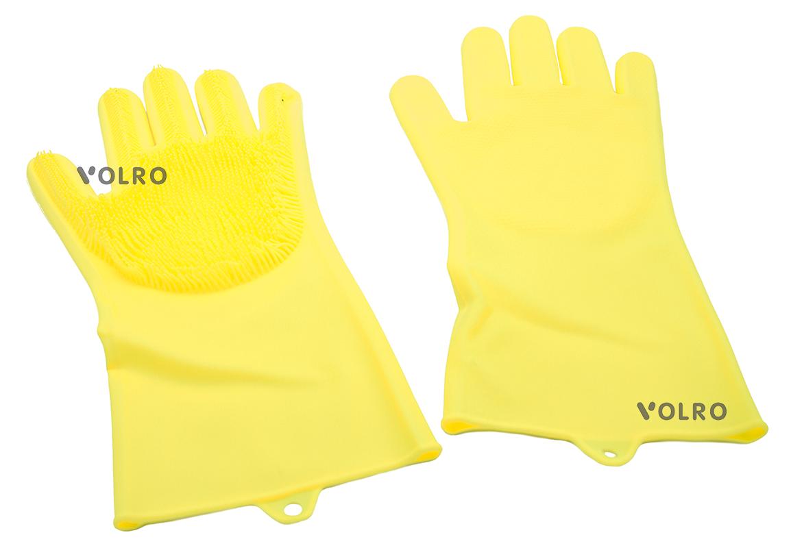 Перчатки силиконовые многофункциональные уборка, чистка, мытье посуды, ухваты VOLRO Желтый (vol-530)