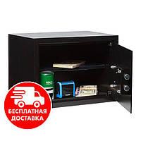 Сейф мебельный черный 25К для дома офиса ВхШхГ 25х35х25см