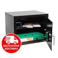 Сейф мебельный черный 30К для дома офиса ВхШхГ 30х38х30см, фото 1