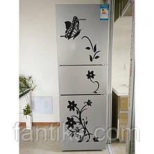 """Набор интерьерных наклеек-самоклеек """"Вьющийся цветок с бабочкой""""  черного цвета"""