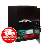 Сейф мебельный черный 56К для дома офиса ВхШхГ 52х35х36см