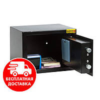 Сейф мебельный черный 17Е для дома офиса ВхШхГ 17х23х17см
